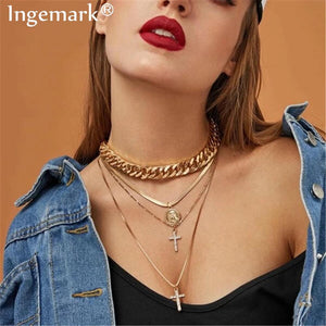 Gothic Multi Layer Chunky Thick Chain Necklace Women Collar Punk Crystal Cross Snake Choker Necklace Festival Jewelry Steampunk