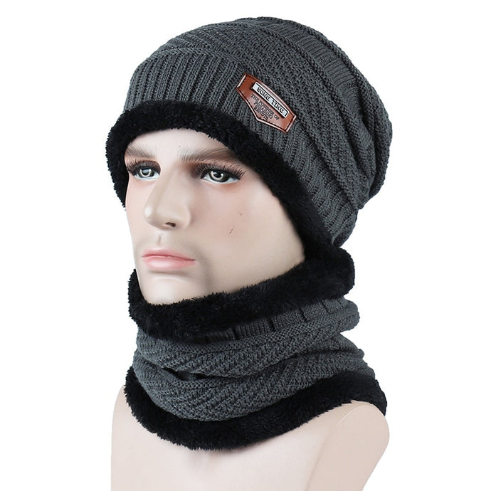Fashion Men Warm Winter Hat Scarf Labelled Knitted Hat Solid Skullies Beanies Winter Scarf Hat Sets For Men Women Knitted Caps