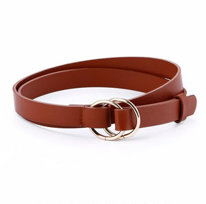 New Double Ring Round circle Buckle gold Ladies PU Leather Belt thin Fashion Wild Personality Knotted Decorative Belts For Women