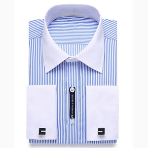 Alimens & Gentle Mens French Cuff Dress Shirt Men Long Sleeve Solid Color Striped Style Cufflink Include 2019 Fashion New