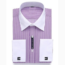 Load image into Gallery viewer, Alimens & Gentle Mens French Cuff Dress Shirt Men Long Sleeve Solid Color Striped Style Cufflink Include 2019 Fashion New