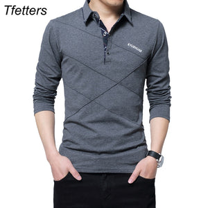 TFETTERS Brand T Shirt Men Long T-shirt Turn-down Stripe Designer T-shirt Slim Fit Loose Casual Cotton T Shirt Male Plus Size