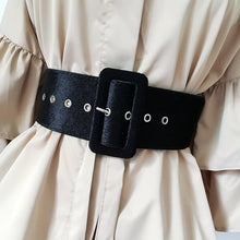 Load image into Gallery viewer, New Design Wide belt female dress belts decorate waistband fashion silver pin buckle Velvet belt party belt black flannel women
