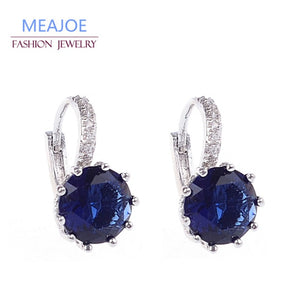 Meajoe Trendy Silver Plate 6 Color Charm Stud Earring Round Cubic Zircon Metal Vintage Earrings Jewelry For Women Friend Gift
