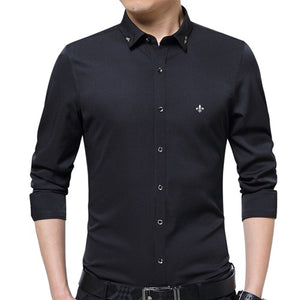 DUDALINA Embroidery Men Clothes Solid Slim Fit Men Long Sleeve Shirt Casual Men Social Shirt Plus Size Anti-wrinkle-free E51701