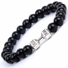 Load image into Gallery viewer, Natural Stone Black Agates Yellow Tiger Eye Beaded Bracelets Men Silver Color Alloy Barbell Charm Bracelets For Women Jewellry