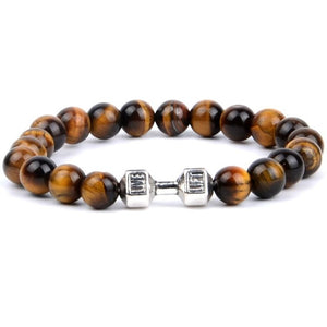 Natural Stone Black Agates Yellow Tiger Eye Beaded Bracelets Men Silver Color Alloy Barbell Charm Bracelets For Women Jewellry
