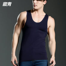 Load image into Gallery viewer, Men's Close-fitting Vest Fitness Elastic Casual O-neck Breathable H Type All Cotton Solid Undershirts Male Tanks