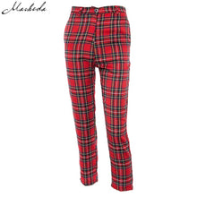 Load image into Gallery viewer, Macheda Summer New Fashion Women Casual Pants Clothes Plaid Female Harem Fit Pants Women 2018 New Red Casual Clothing Pants
