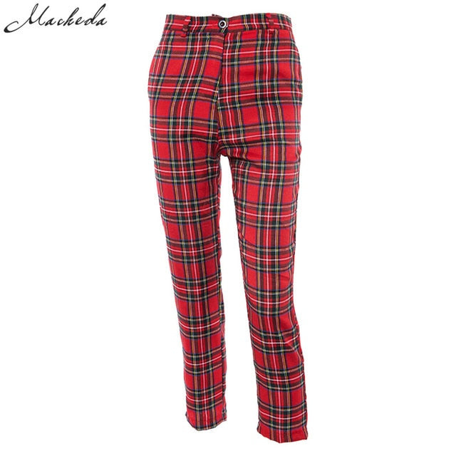 Macheda Summer New Fashion Women Casual Pants Clothes Plaid Female Harem Fit Pants Women 2018 New Red Casual Clothing Pants