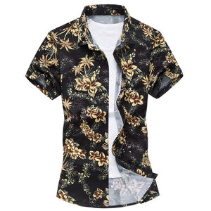 Summer Mens Short Sleeve Beach Hawaiian Shirts Casual Flower Floral Shirts Plus Size 6XL 2018 New Mens Clothing Fashion