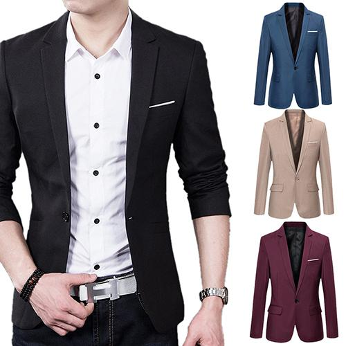 Men's Fashion Business Casual Long Sleeve Pockets Suits Wedding Suit Coat