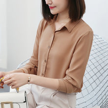 Load image into Gallery viewer, New Women's Shirt Classic Chiffon Blouse Female Plus Size Loose Long Sleeve Casual Shirts Lady Simple Style Tops Clothes Blusas
