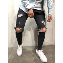 Load image into Gallery viewer, Fashion Streetwear Men's Jeans Vintage Blue Gray Color Skinny Destroyed Ripped Jeans Broken Punk Pants Homme Hip Hop Jeans Men