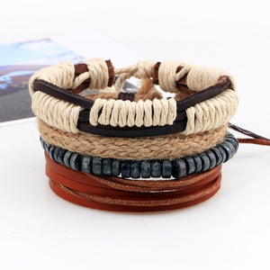 4pcs/set Handmade Boho Gypsy Hippie Fashion Trendy Vintage Cuff Beads Leather  Punk Charm Men Leather Bracelet For Women Jewelry
