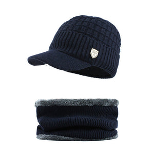 [FLB] Skullies Beanies Men Scarf Knitted Hat Cap Male Plus Gorras Bonnet Warm Wool Thick Winter Hats For Men Women Beanie F18041