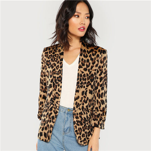 SHEIN Multicolor Shawl Collar Gathered Sleeve Leopard Blazer Elegant Casual 3/4 Sleeve Outerwear Women Highstreet Autumn Coat