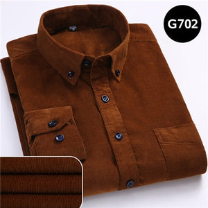 Plus Size 6xl Autumn/winter Warm Quality 100%cotton Corduroy long sleeved button collar smart casual shirts for men comfortable