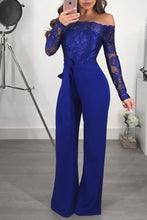 Load image into Gallery viewer, Appliques Lace Patchwork Jumpsuit Women Sexy Off Shoulder Slash Neck Long Sleeve Women Jumpsuit Elegant Slim Wide Leg Jumpsuit
