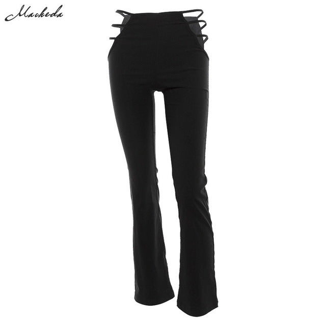 Macheda 2018 Women Black Sexy Cut Out Holes Pants Slim Fitness Sweat Pants Flare Hollow Out Trousers Streetwear Capris Pant