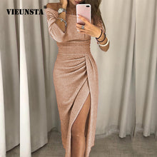 Load image into Gallery viewer, VIEUNSTA Sexy Off Shoulder Party Dress Women High Slit Peplum Bodycon Dress Autumn Three Quarter Sleeve Bright Silk Shiny Dress