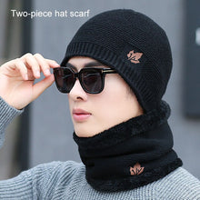Load image into Gallery viewer, Winter warm men's knit hats scarf warm and comfortable velvet thick ski mask caps solid color beautiful embroidery maple leaf