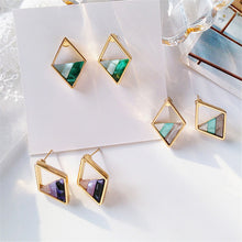 Load image into Gallery viewer, Contracted lozenge color contrast color earrings female fashion lady geometric hollow out the triangle stud earrings earrings