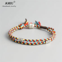 Load image into Gallery viewer, AMIU Tibetan Buddhist Lucky Woven Amulet Tibetan Cord Bracelets & Bangles For Women Men Handmade Rope Buddha Anklet Bracelet