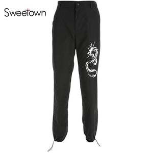 Sweetown Chinese Style Dragon Embroidery Cargo Pants Women Black High Waist Pocket Trousers Streetwear Womens Joggers Sweatpants