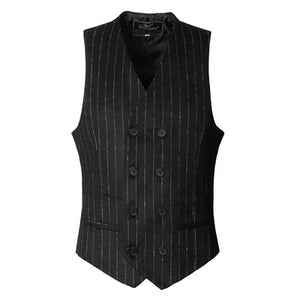 Autumn New European Style Slim Casual Men's Striped Suit Waistcoat Business Black Double Breasted Suit Vest for Men M118-2