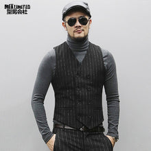 Load image into Gallery viewer, Autumn New European Style Slim Casual Men's Striped Suit Waistcoat Business Black Double Breasted Suit Vest for Men M118-2