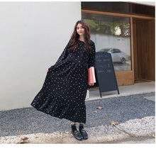 Load image into Gallery viewer, Plus Size 2019 Spring Summer European Style Brand Cothing Loose Long Sleeve Women Dresses Print Dot Linen Vestidos O-Neck Robe