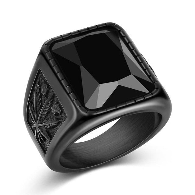 Jiayiqi Men Hiphop Ring 316L Stainless Steel Black/Red Stone Ring Rock Fashion Male Jewelry