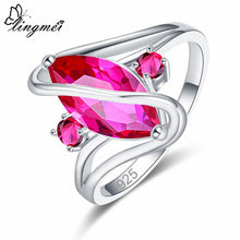 Load image into Gallery viewer, Lingmei Dropshipping Wedding Marquise Cut Multicolor Red Blue Green Cubic Zircon Silver 925 Ring Women Size 6 7 8 9 10 11 12