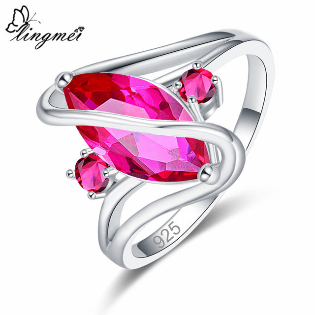 Lingmei Dropshipping Wedding Marquise Cut Multicolor Red Blue Green Cubic Zircon Silver 925 Ring Women Size 6 7 8 9 10 11 12