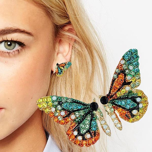 2018 New European and American fashion personality short butterfly ear nail color drill party accessory ear nail