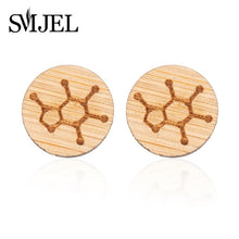 Load image into Gallery viewer, SMJEL 2018 Fashion Serotonin Molecule Ear Climbers for Women Chemistry Structure Science Stud Earrings Crawler Gift Brincos S153