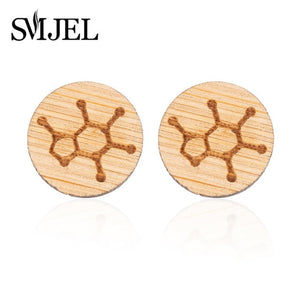 SMJEL 2018 Fashion Serotonin Molecule Ear Climbers for Women Chemistry Structure Science Stud Earrings Crawler Gift Brincos S153