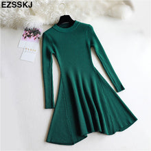 Load image into Gallery viewer, chic Autumn Winter black Sweater Dress Women o-neck Long Sleeve A Line thick Knit mini Dress female girl short bodycon dress