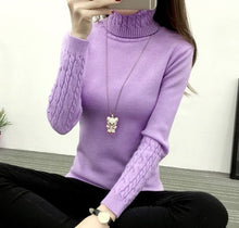 Load image into Gallery viewer, Thick Warm Women Turtleneck 2019 Winter Women Sweaters And Pullovers Knit Long Sleeve Cashmere Sweater Female Jumper Tops RE0973