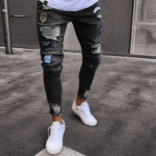 Load image into Gallery viewer, hole embroidered jeans Slim men trousers NEW 2019 men's Casual Thin Summer Denim Pants Classic Cowboys Young Man black blue
