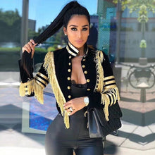 Load image into Gallery viewer, Adyce 2019 New Spring Women Slim Trench Coat Sexy Black Color Tassel Fringe Celebrity Party Coats Long Sleeve Fashion Club Coats