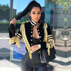 Adyce 2019 New Spring Women Slim Trench Coat Sexy Black Color Tassel Fringe Celebrity Party Coats Long Sleeve Fashion Club Coats