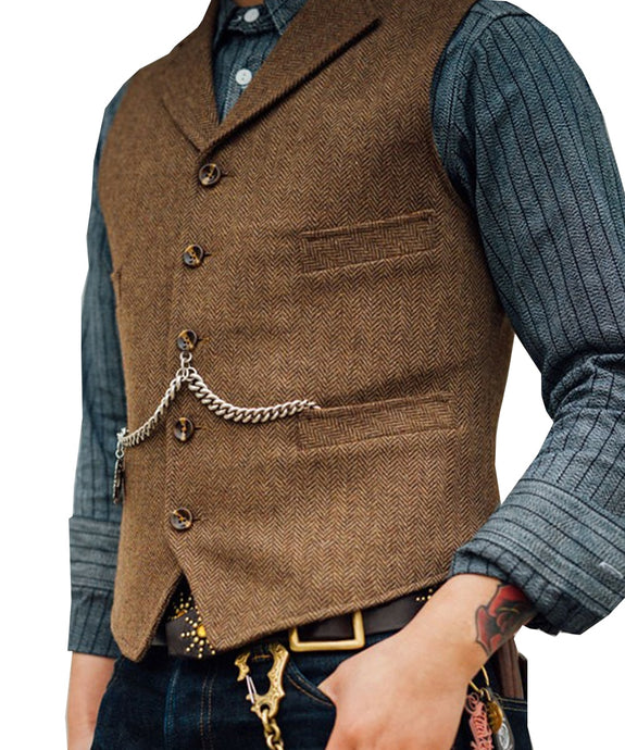Men's Suit Vest Boutique Wool Tweed Slim Fit Leisure Cotton Male Gentleman Beckham Business Waistcoat For Wedding Groomsmen