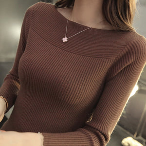 2019 Autumn And Winter new Korean women collar sweater all-match long sleeved shirt slim  one-neck female thread tight Pullover