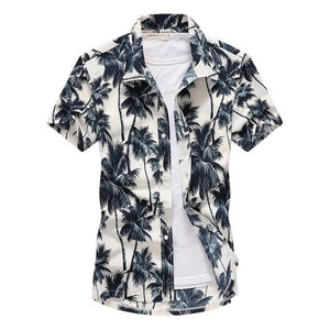 Beach Hawaiian Shirts Men Clothes 2019 Summer Fashion Coconut Tree Printed Short Sleeve Button Down Hawaiian Aloha Shirts Mens