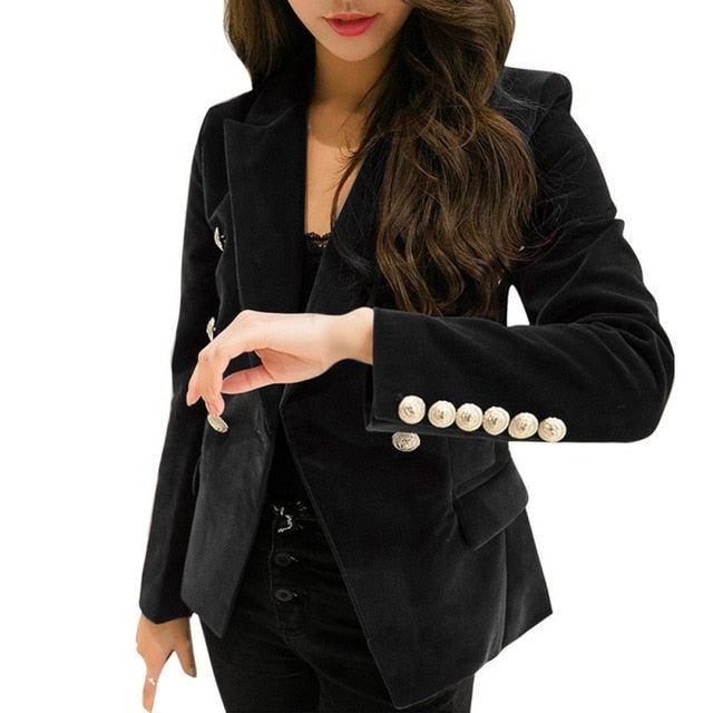 *2019 Autumn Velvet Blazer OL Formal Work Small Suit jacket Women Slim Long Sleeve ladies Blazers feminino Women Gold Button*