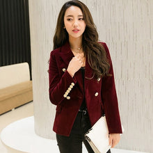 Load image into Gallery viewer, *2019 Autumn Velvet Blazer OL Formal Work Small Suit jacket Women Slim Long Sleeve ladies Blazers feminino Women Gold Button*