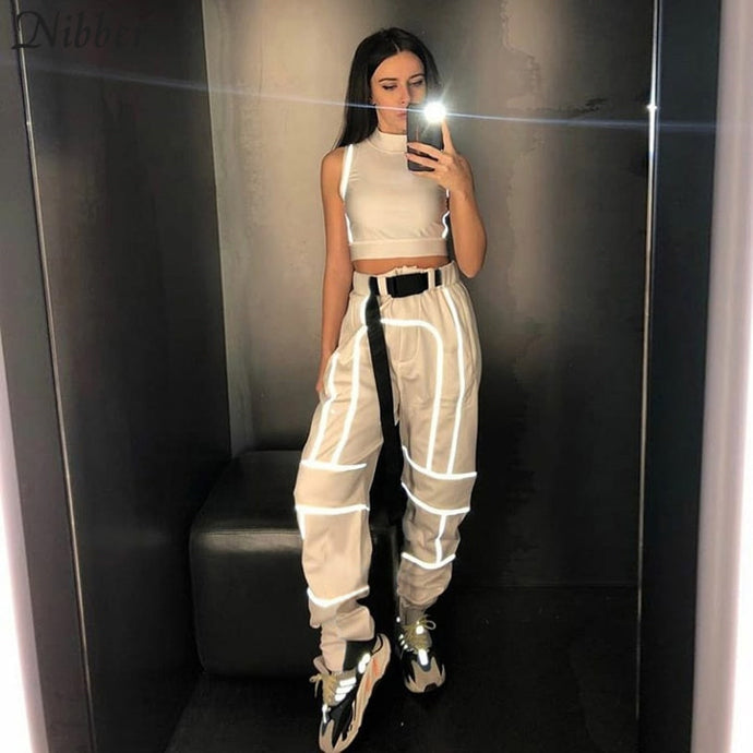 Nibber spring Reflective cargo pants women Casual harem pants 2019 hot black Sweatpants ladies wild Belt decoration Active Wear
