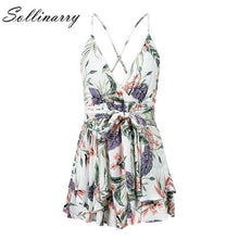 Load image into Gallery viewer, Sollinarry Floral Print Rompers Women 2019 Summer Backless Spaghetti Sexy Short Jumpsuits Casual Holiday Boho Beach Jumpsuit